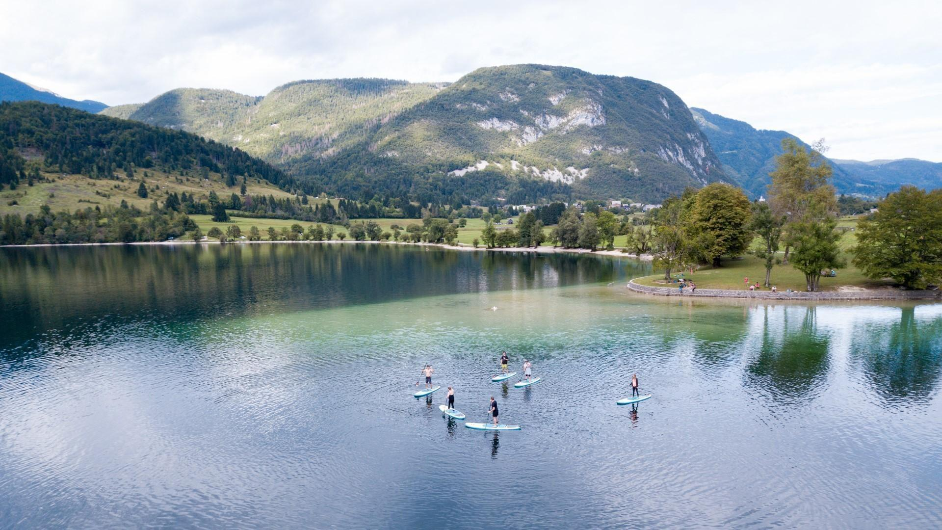 Paddleboarding bohinj lake