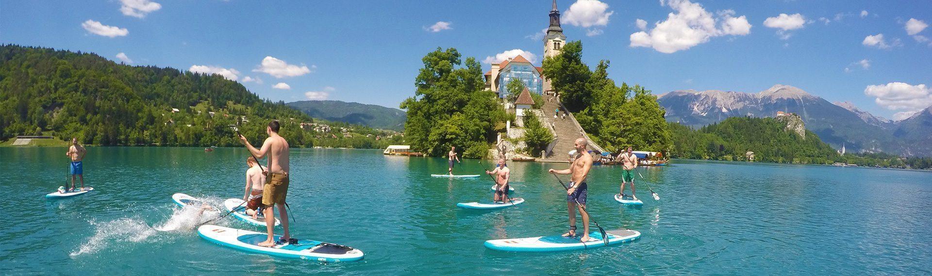 Paddle-boarding lake Bled, Slovenia